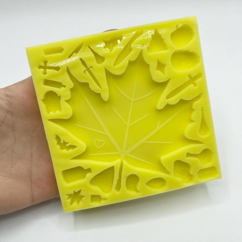 Maple Leaf + 23 Mix Creepy Shapes Mold Large| Silicone Molds | Reschimica