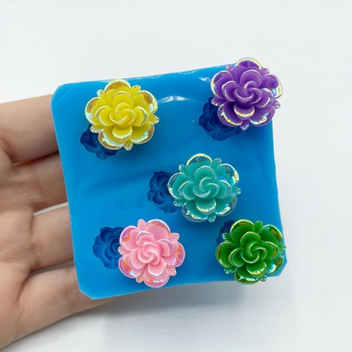 4 Shapes 3D Rose Mold| Silicone Molds | Reschimica