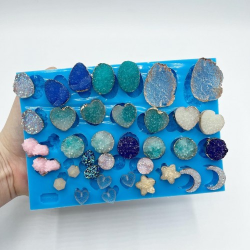 36 Shapes Druzy Gems Mold| Silicone Molds | Reschimica
